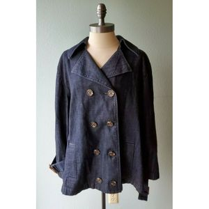 Old Navy XL Demin Jean Double Breasted Coat